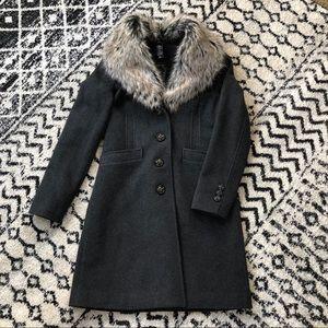 🎉HP🎉 MODA Fur trimmed charcoal winter jacket